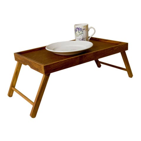 Brown Wood Serving Tray Table with Folding Legs