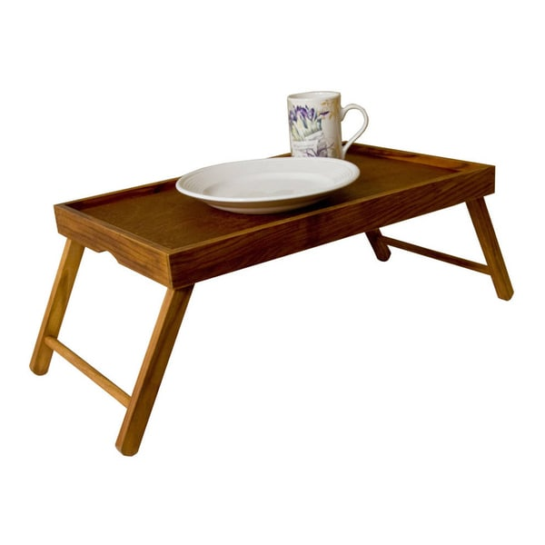 shop brown wood serving tray table with folding legs free shipping on orders over 45. Black Bedroom Furniture Sets. Home Design Ideas