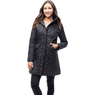 Larry Levine Women's Quilted Coat With Removable Hood