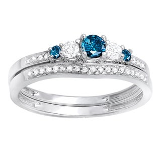 14k White Gold 2/5ct TDW Blue and White Diamond 5-stone Bridal Engagement Ring Set (H-I, I1-I2)