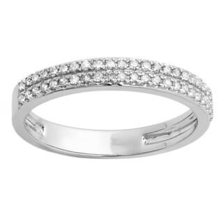10k Gold 1/5ct TDW White Diamond Double Row Anniversary Wedding Band (I-J, I2-I3)