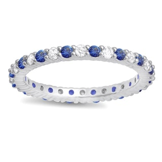 14k White Gold 1ct TGW Blue Sapphire and White Diamond Eternity Stackable Band (H-I, I1-I2)