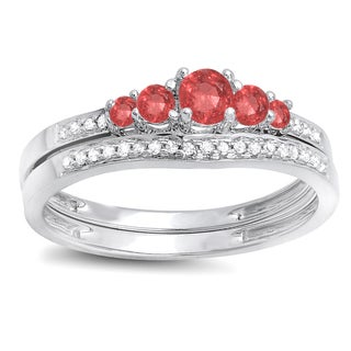 14k White Gold 1/2ct TGW Round Ruby and White Diamond 5-stone Bridal Engagement Ring (H-I, I1-I2)