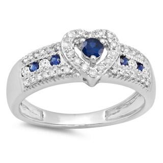 Elora 10k Gold 1/2ct TGW Blue Sapphire and Diamond Bridal Heart Promise Engagement Ring (H-I, I1-I2)