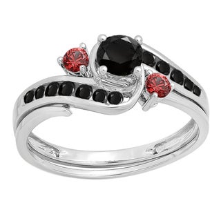 10k White Gold 7/8ct TDW Black Diamond and Ruby Side Stones Swirl Bridal Set