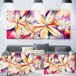 Designart 'Crystalize Pink Floral' Metal Wall Art