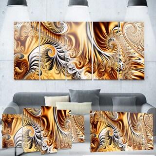 Designart 'Gold & Silver Ribbons Abstract' Metal Wall Art