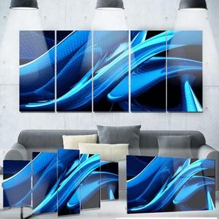 Designart 'Liquid Blue Abstract' Metal Wall Art