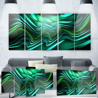 Designart 'Emerald Energy Green Abstract' Metal Wall Art
