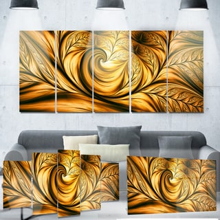 Designart 'Golden Dream Abstract' Metal Wall Art