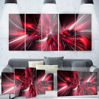 Designart 'Red Implosion' Metal Wall Art