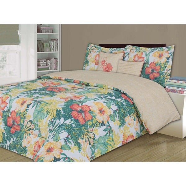 Panama Jack Reversible Shady Palm 5 Piece Comforter Set