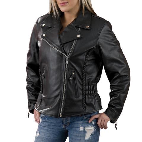 Women's Black Leather Braid and Stud Back Detailing Motorcycle Jacket