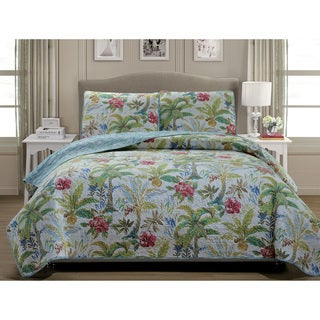 Panama Jack Matisse Palm Cotton 3 Piece Quilt Set