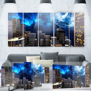 Designart 'Abstract City at Night' Metal Wall Art