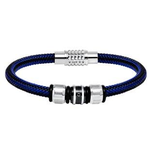 Cambridge Stainless Steel Blue Corded Beaded Bracelet