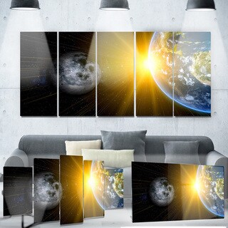 Designart 'Sun Moon and Earth' Our Worlds' Metal Wall Art