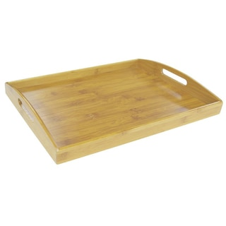Modern All Natural Tan Bamboo 17.25-inch x 11.75-inch x 2.2-inch Built-in Handles Serving Tray