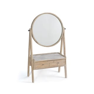 Hip Vintage Natural-finish Wood/Marble Floor Mirror