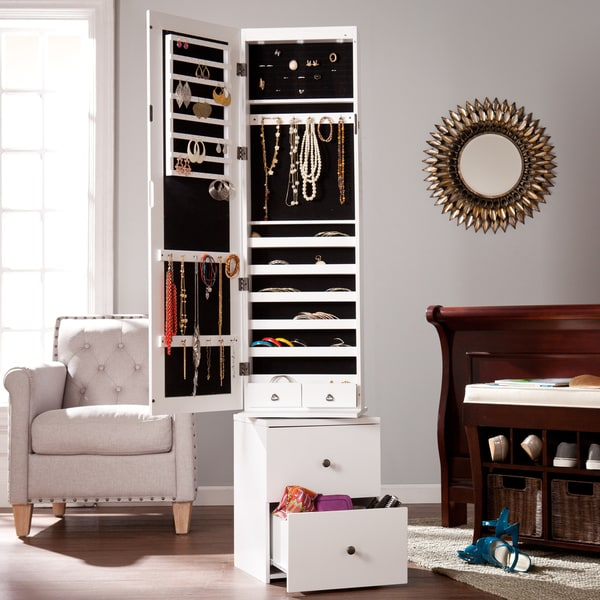 Harper Blvd Dylan White Swivel Jewelry Armoire Free Shipping Today