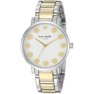 Kate Spade Women's 1YRU0738 Silver and Gold Two-tone Stainless Steel Bracelet Watch|https://ak1.ostkcdn.com/images/products/11844349/P18747032.jpg?impolicy=medium