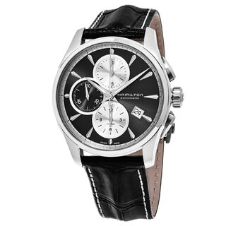 Hamilton Men's H32596781 'Jazzmaster' Grey Dial Black Leather Strap Chronograph Swiss Automatic Watch