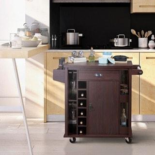 Furniture of America Marsella Rustic Espresso Storage Serving Cart
