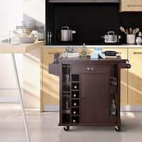 Copper Grove Carrick Rustic Espresso Storage Serving Cart
