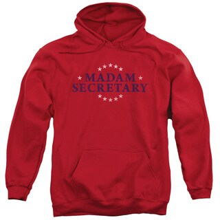 Madam Secretary/Distress Logo Adult Pull-Over Hoodie in Red
