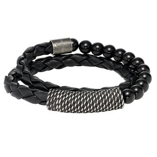 Cambridge Black Leather Double-wrap Beaded Bracelet
