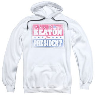 Family Ties/Alex For President Adult Pull-Over Hoodie in White