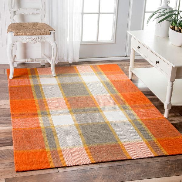 NuLOOM Handmade Flatweave Plaid Orange Rug (5' X 8