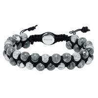 Cambridge Grey/Black Steel Adjustable Bead Bracelet