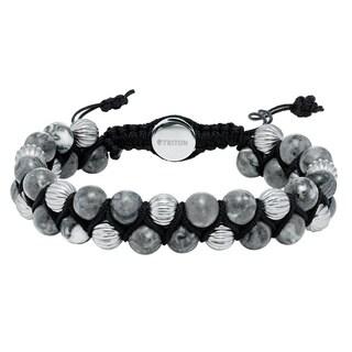 Cambridge Grey/Black Steel Adjustable Bead Bracelet