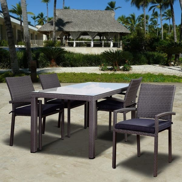 Atlantic Wicker 5 Piece Patio Dining Set With Cushions On Sale Overstock 11844594