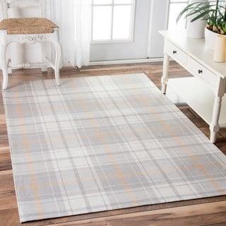 nuLOOM Handmade Flatweave Gingham Grey Rug (7'6 x 9'6)
