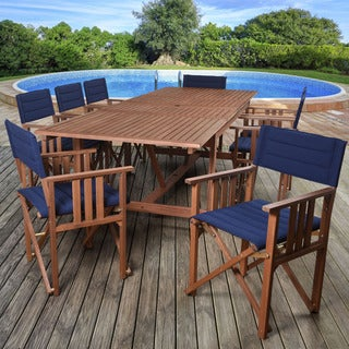 Amazonia Orlando Blue, Brown Polyester Upholstery and Wood 9 Piece Double Leaf Extendable Rectangular Patio Dining Set