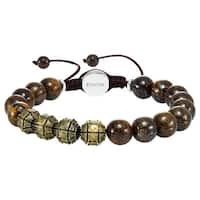 Cambridge Jewelry Stainless Steel and Bronzite Bead 10-millimeter Adjustable Bracelet
