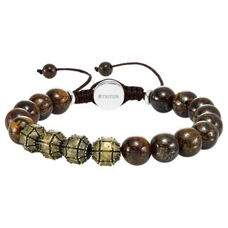 Cambridge Jewelry Stainless Steel and Bronzite Bead 10-millimeter Adjustable Bracelet