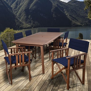 Amazonia Orlando Blue 7-piece Rectangular Patio Dining Set
