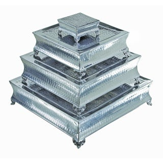 Stackable Aluminum Cake Stand with Silvertone Finish (Pack of 4)