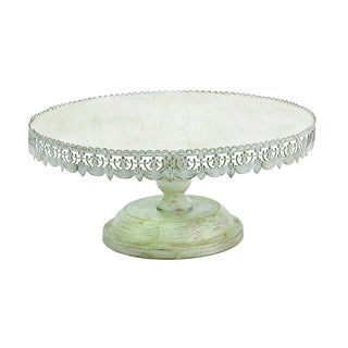 White-polished Metal 10-inch Cake Stand