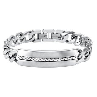 Cambridge Stainless Steel Silver Inlay ID Link Bracelet