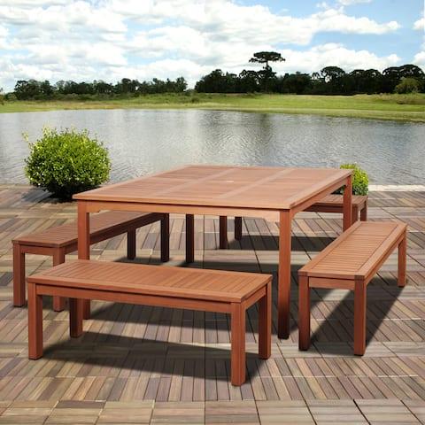 Amazonia Padua 5-piece Eucalyptus Square Patio Dining Set