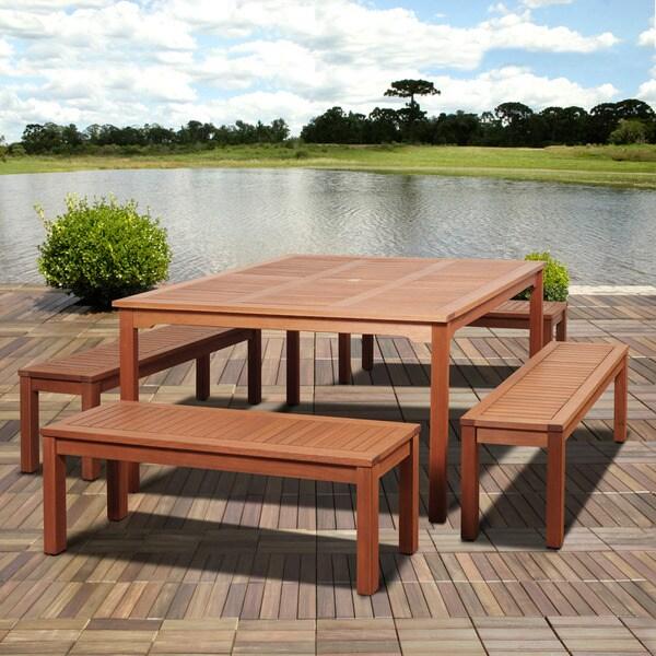 Amazonia Padua 5 piece Eucalyptus Square Patio Dining Set