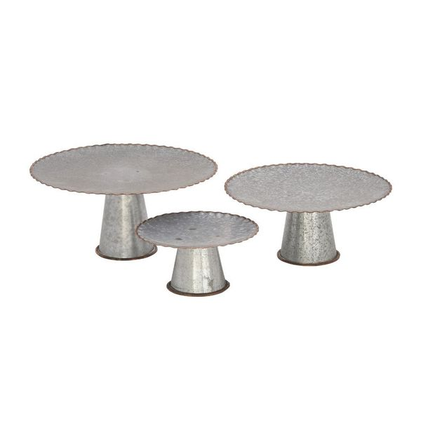 Shop Galvanized Cake Stand Set In Assorted Sizes Set Of 3 Free