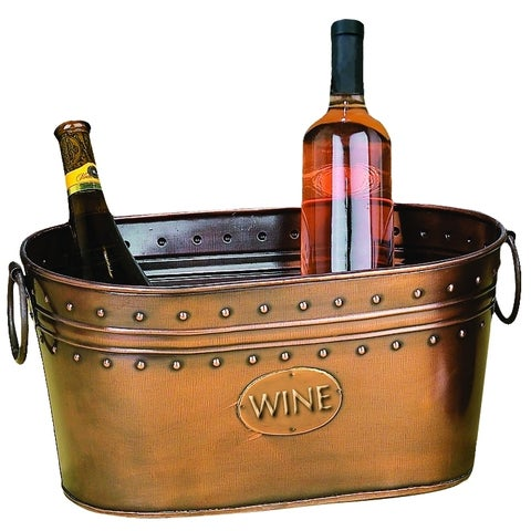 29298 Rich Copper Finish Metal Wine Cooler