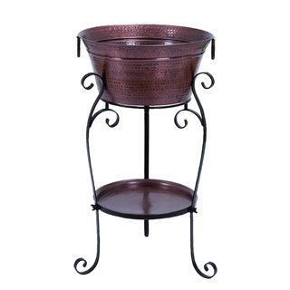 Dark Multicolor Metal 35-inch High 20-inch Diameter Wine Cooler