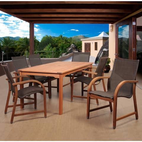 Popham Brown 7-piece Rectangular Patio Dining Set by Havenside Home