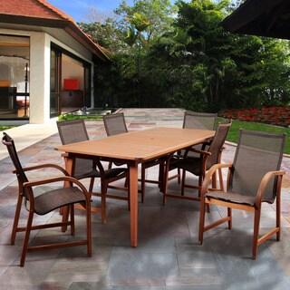 Amazonia Pucara Brown Eucalyptus Wood and Polyester 7-piece Rectangular Patio Dining Set
